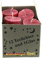 Keramik&Kerzen Stearin 12 Teelichter und 1 Glas -Rot-