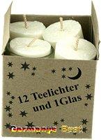 Keramik&Kerzen Stearin 12 Teelichter und 1 Glas -Weiss–