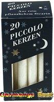 Keramik&Kerzen Stearin Piccolo-Kerzen -Weiss-, 20 pcs.