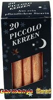 Keramik&Kerzen Stearin Piccolo-Kerzen -Orange-, 20 pcs.