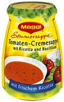 Maggi Sommersuppe Tomaten-Cremesuppe mitRicotta und Bas.